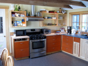 The kitchen, in the ell of the house, with all new cabinets and appliances